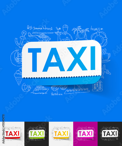 taxi paper sticker with hand drawn elements Fototapet