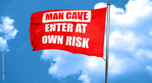 Photo  man cave sign, 3D rendering, a red waving flag