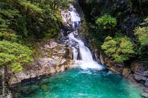 Küchenrückwand aus Glas mit Foto Wasserfalle Waterfall in tropical rainforest, New Zealand