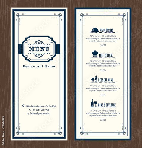 Restaurant or cafe menu design template with vintage retro ...