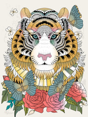Fototapeta Lew Imposing tiger adult coloring page