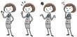 イラスト素材:ビジネス スーツの女性 ポーズ 全身 バリエーション