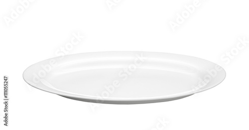Fotografie, Obraz  Oval empty plate isolated on white background