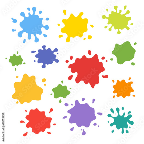 Papiers peints Forme Collection of paint splash. Vector set of brush strokes. Isolated on white background