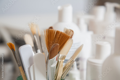 Poster  Brushes in a beauty salon