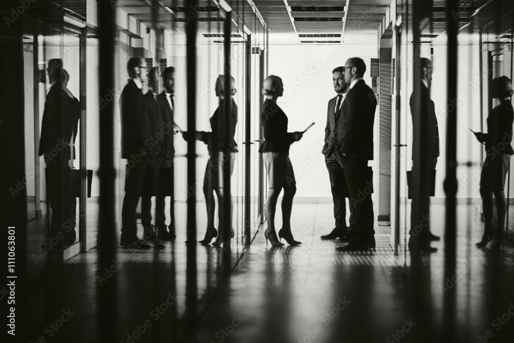 Fototapeta Colleagues in corridor