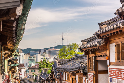 Photo sur Aluminium Seoul Bukchon Hanok Village in Seoul, South Korea..