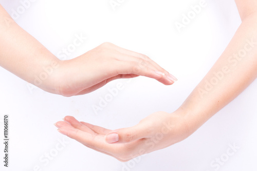 finger hand symbols isolated concept join two cupped hands and may the force be Wallpaper Mural