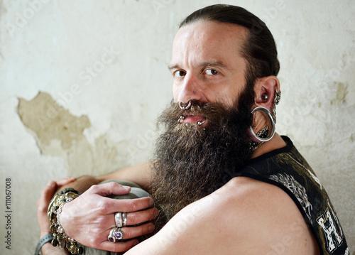 Slika na platnu Bearded men with piercings
