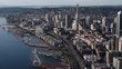 Aerial View Beautiful Seattle Downtown Waterfront Elliot Bay and Commercial District