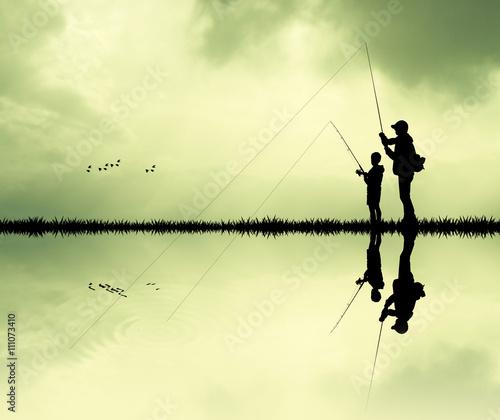 Valokuva fisherman at sunset