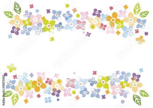 カラフルな花の飾り枠イラスト Adobe Stock でこのストックベクターを