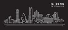 Cityscape Building Line Art Vector Illustration Design - Dallas City