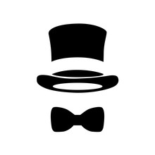 Top Hat And Bow Tie. Vector Illustration