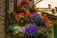 Romantic Flowery Balcony In Spello Village, Umbria - Italy.
