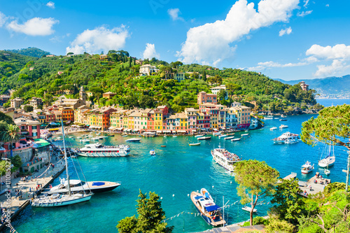 Stickers pour porte Ligurie Beautiful view of Portofino, Liguria, Italy