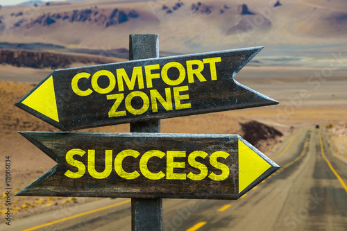 Fotografie, Obraz  Comfort Zone - Success crossroad in a desert background