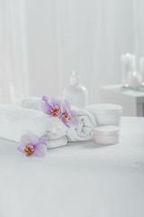 Obraz na płótnie Canvas Spa set for skin pampering