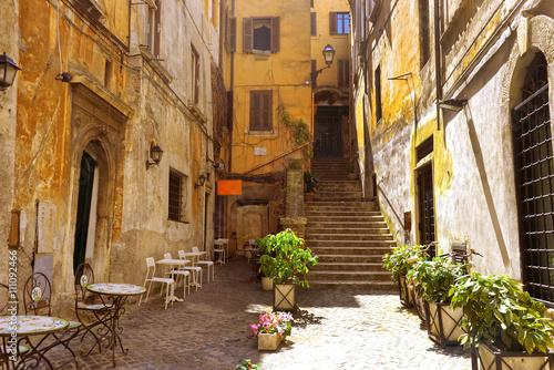 In de dag Mediterraans Europa cozy street in Rome, Italy