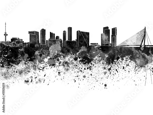 Foto op Canvas Rotterdam Rotterdam skyline in watercolor on white background