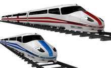 Two High Speed Bullet Train. 3...