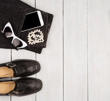 Shoes And Jeans, Smartphone, Sunglasses, Pearl On White Wood