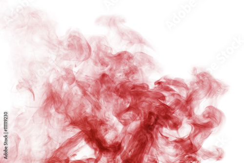 Türaufkleber Rauch red smoke on the white background