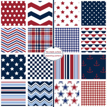 Red, White And Blue Seamless Pattern Set. Repeating Patterns For Fabric, Gift Wrap, Scrapbooking, Backgrounds And More. Anchors, Stars, Stripes, And Polka Dot Patterns.  Nautical Prints.