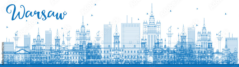 Fototapety, obrazy: Outline Warsaw skyline with blue buildings.