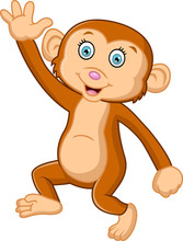 Cartoon Cute Monkey Waving
