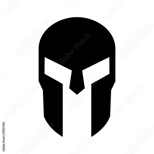 Photo  Spartan Greek helmet armor flat icon for apps and websites