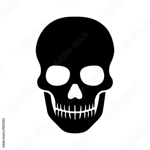 Photo Death skull or human skull flat icon for games and websites