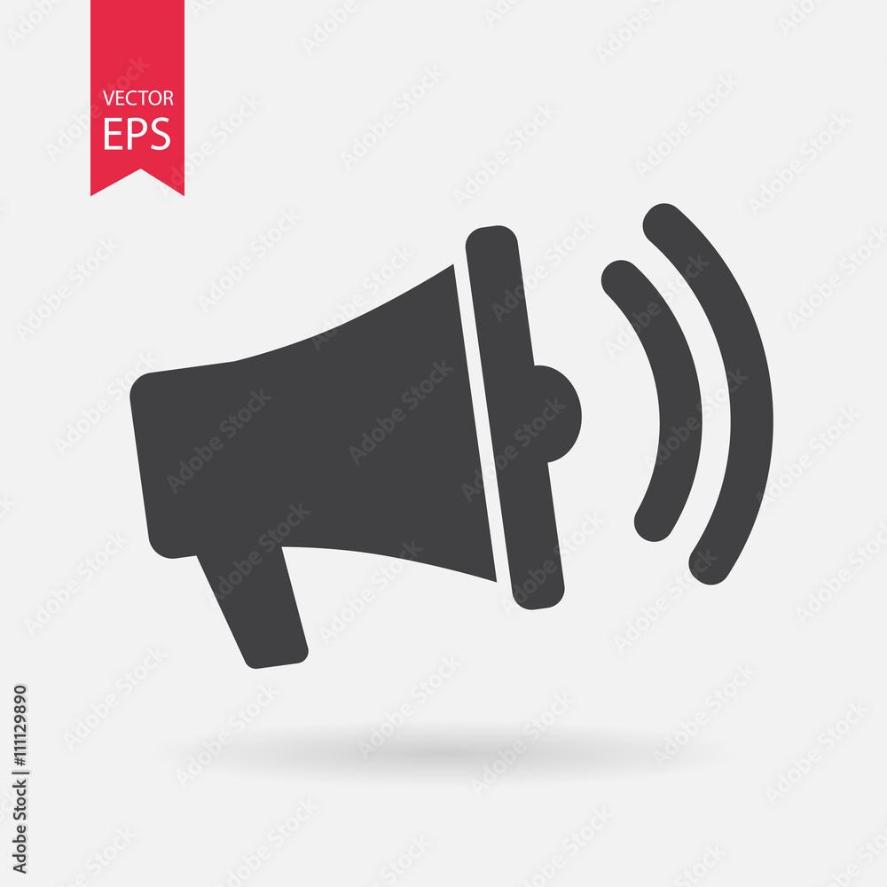 Fototapeta Loudspeaker Icon Vector. Flat design. Loudspeaker note sign isolated on white background.