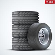 Car Tires And Wheel At Warehouse