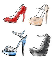 Lady Shoes Sketched Woman's Shoe Vector Illustration Collection Of Fashion High Heels Shoes