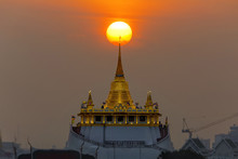 Golden Moutain Temple With Sun...