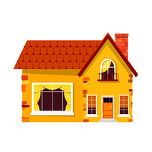 Yellow Stone House On A White Background. Country House With A R