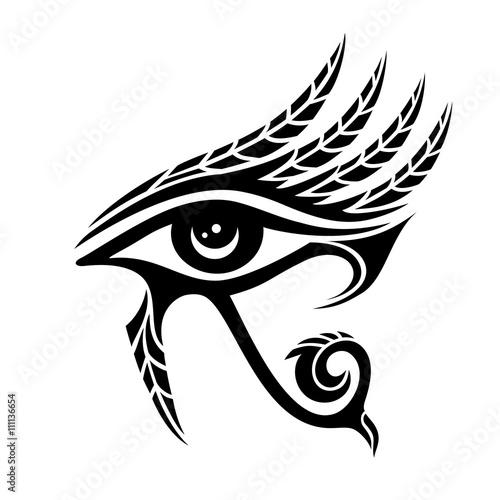 Photo Horus eye, falcon god, feathers, protection symbol
