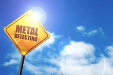 Metal Detecting, 3D Rendering, A Yellow Road Sign