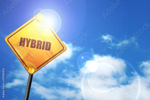 Foto  Hybrid, 3D-Rendering, ein gelbes Schild