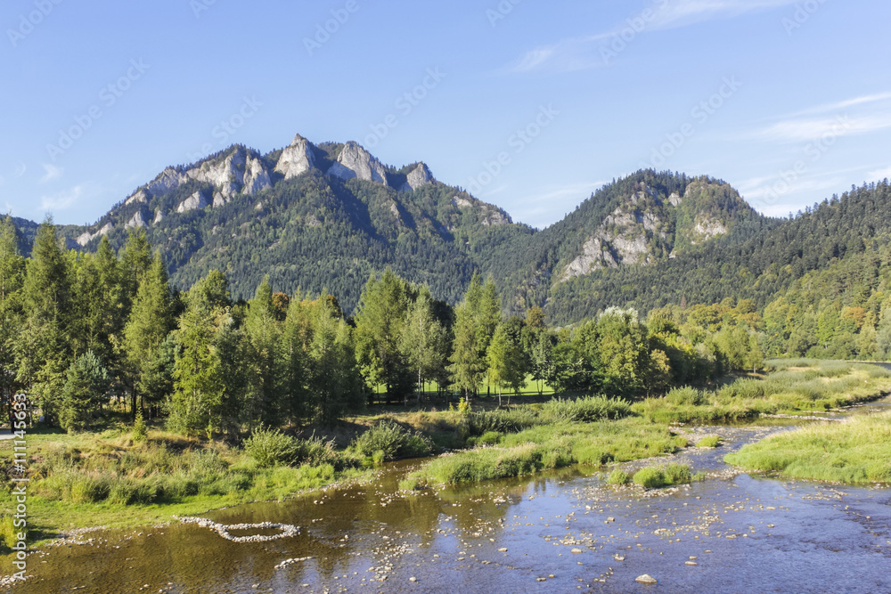 Three Crowns Mountain and the river Dunajec, Poland