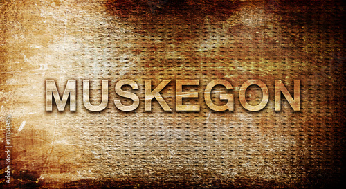 Poster Chicago muskegon, 3D rendering, text on a metal background