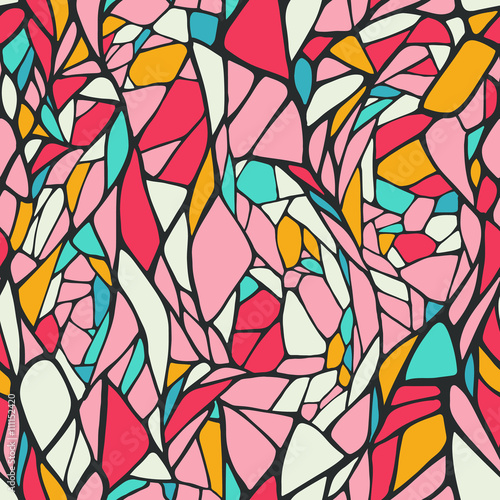 Foto auf AluDibond Klassische Abstraktion Seamless pattern with doodle ornament