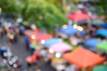 Blur People Walking In Market Abstract Background.