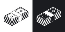 Bundle Of Dollars, Vector Icon. Two-tone Version On Black And Wh