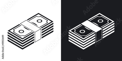 Fotografía  Bundle of dollars, vector icon. Two-tone version on black and wh