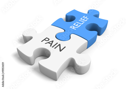 Health Concept Of Puzzle Pieces Illustrating Pain Relief 3D Rendering