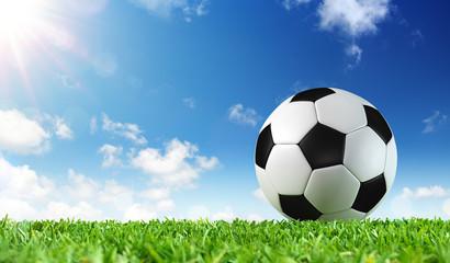 fototapeta klasyczna piłka na trawie na tle nieba