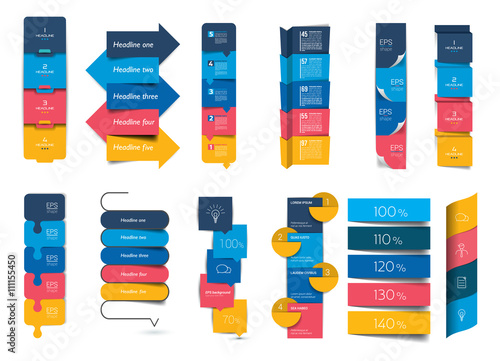 Fototapety, obrazy: Big set of infographics step by step vertical tables, elements, schedules, banners, charts.