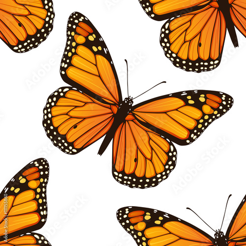 Photo  Seamless pattern with monarch butterflies